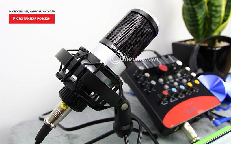 combo micro takstar pc-k320 + icon upod pro sound card - bộ thu âm hát live chuyên nghiệp - micro màu trắng