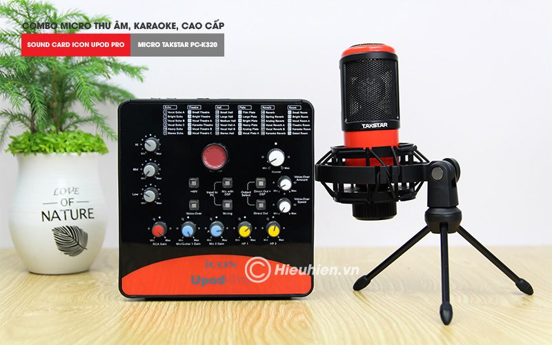 combo micro takstar pc-k320 + icon upod pro sound card - bộ thu âm hát live chuyên nghiệp - micro và soundcard