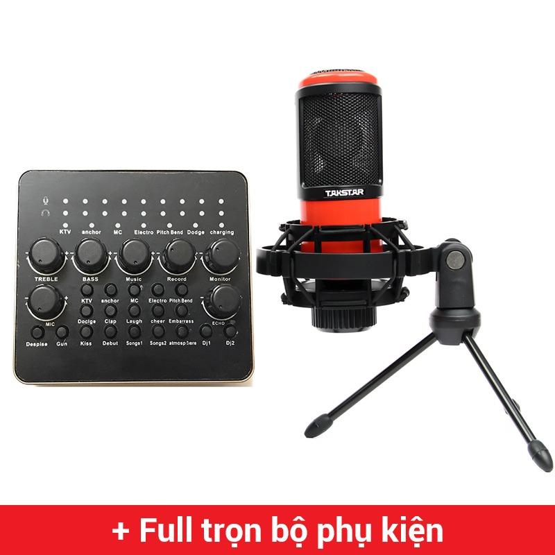 combo micro thu âm takstar pc-k320 + sound card v10 giá rẻ, chính hãng