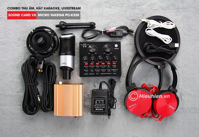 combo micro takstar pc-k320 + sound card v8 - thu âm hát live stream, karaoke chuyên nghiệp - trọn bộ
