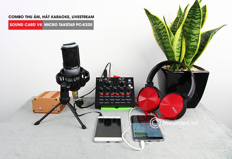 combo micro takstar pc-k320 + sound card v8 - thu âm hát live stream, karaoke chuyên nghiệp - tặng tai nghe