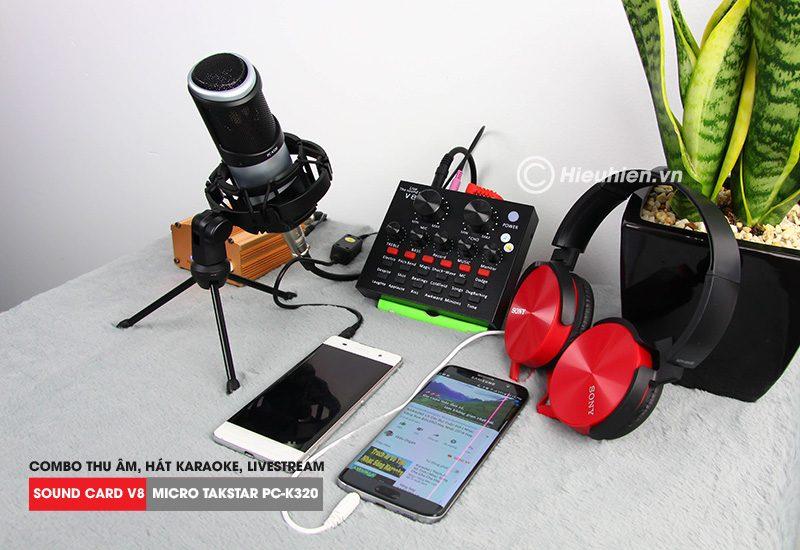 combo micro takstar pc-k320 + sound card v8 - thu âm hát live stream, karaoke chuyên nghiệp - tai nghe sony