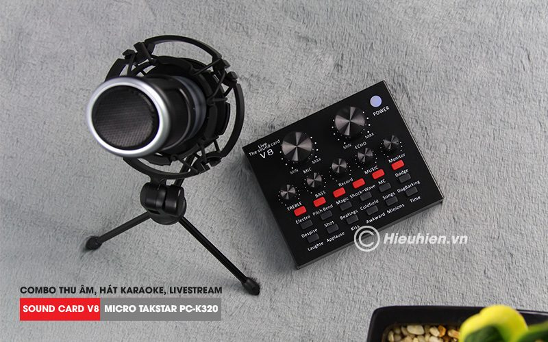 combo micro takstar pc-k320 + sound card v8 - thu âm hát live stream, karaoke chuyên nghiệp - micro