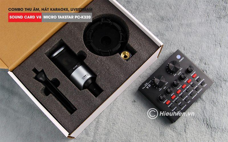 combo micro takstar pc-k320 + sound card v8 - thu âm hát live stream, karaoke chuyên nghiệp - hộp micro