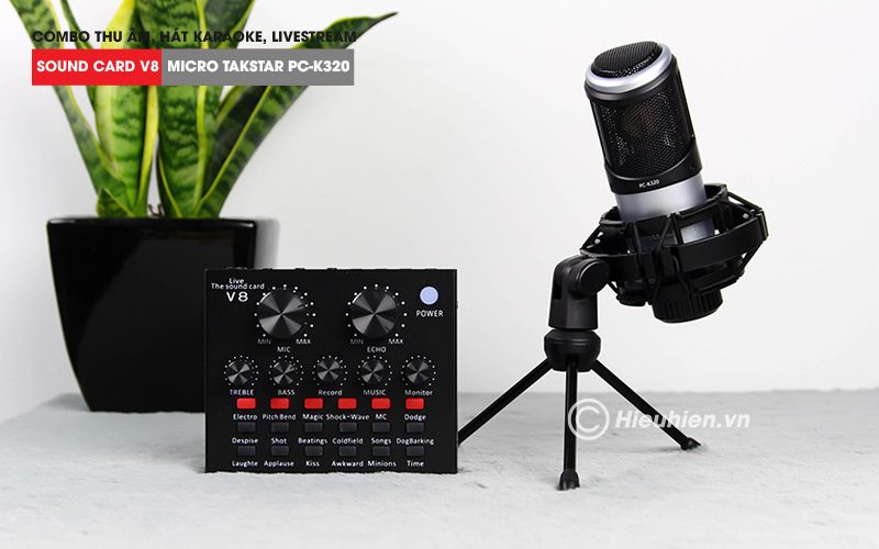 combo micro takstar pc-k320 + sound card v8 - thu âm hát live stream, karaoke chuyên nghiệp - soundcard và mic