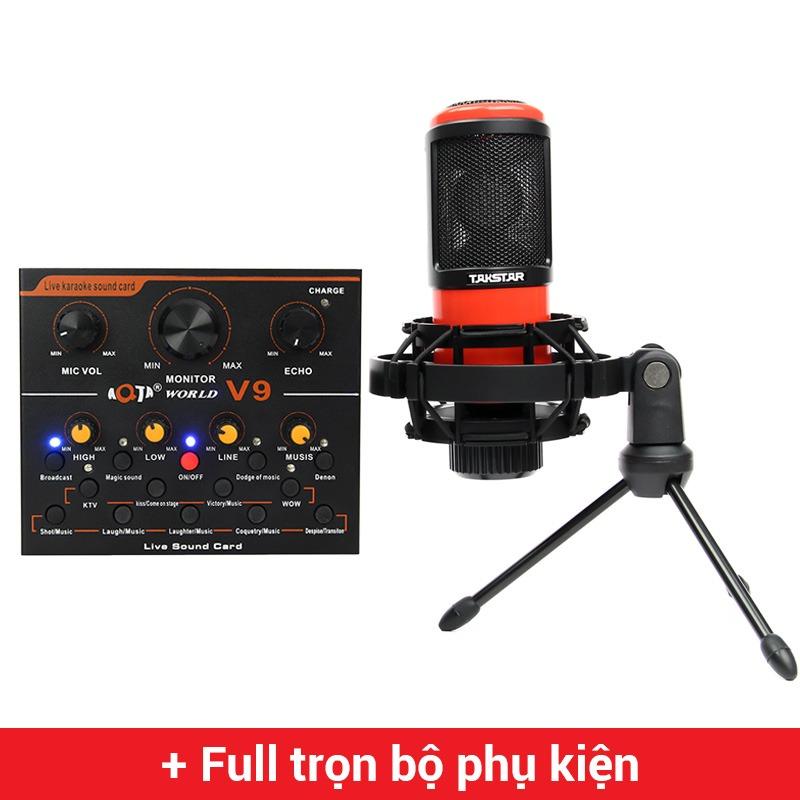 Combo Micro Takstar PC-K320 + Sound Card V9 - Thu âm hát live stream, karaoke giá rẻ