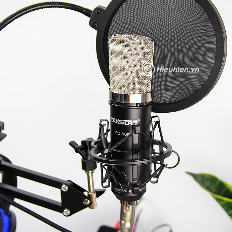 combo micro thu âm takstar pc-k600 + sound card hf6000 pro hát live stream, karaoke chuyên nghiệp