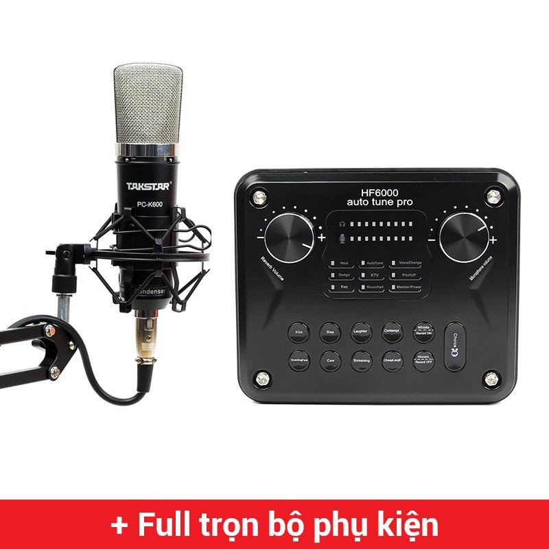 Combo Micro thu âm Takstar PC-K600 + Sound Card HF6000 Pro cao cấp
