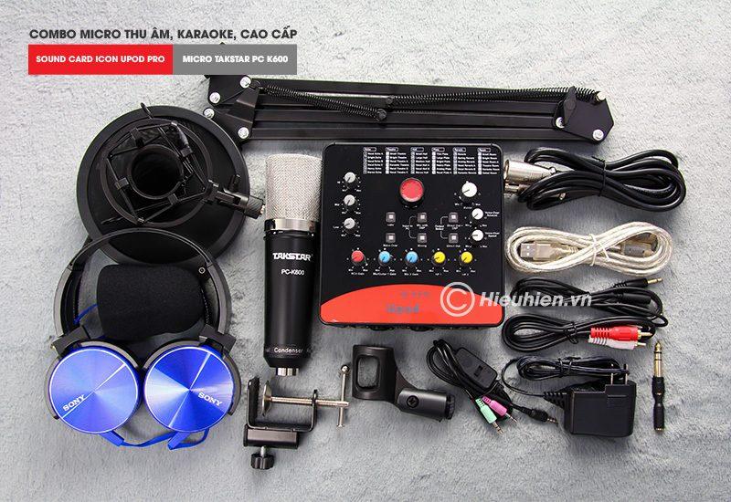 combo micro takstar pc-k600 + icon upod pro sound card - bộ thu âm hát live chuyên nghiệp - trọn bộ