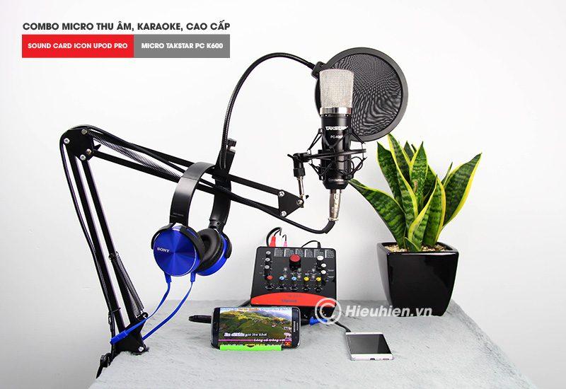 combo micro takstar pc-k600 + icon upod pro sound card - bộ thu âm hát live chuyên nghiệp - tặng tai nghe