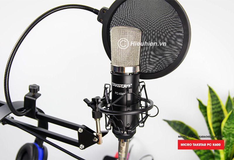 combo micro takstar pc-k600 + icon upod pro sound card - bộ thu âm hát live chuyên nghiệp - màn lọc âm