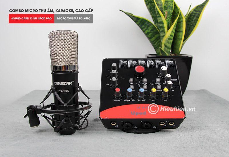 combo micro takstar pc-k600 + icon upod pro sound card - bộ thu âm hát live chuyên nghiệp - micro và soundcard