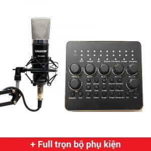 Combo Micro thu âm Takstar PC-K600 + Sound Card V10 cao cấp
