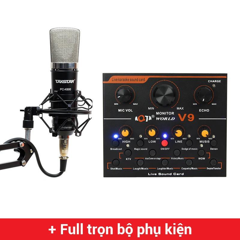 Combo Micro Takstar PC-K600 + Sound Card V9 - Thu âm hát live stream, karaoke chuyên nghiệp