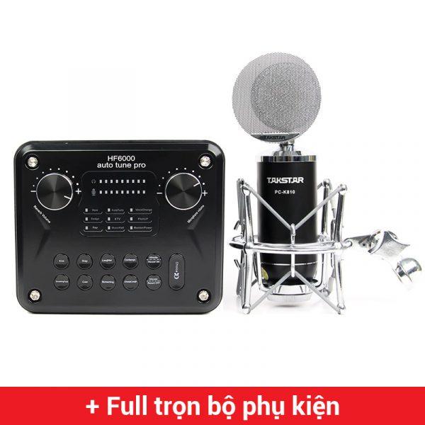 Combo Micro thu âm Takstar PC-K810 + Sound Card HF6000 Pro cao cấp