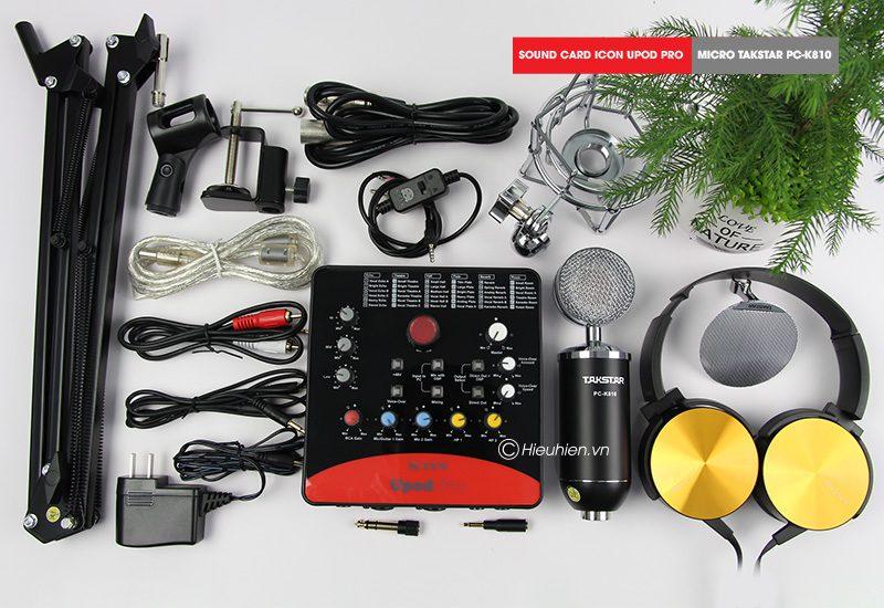 combo micro takstar pc-k810 + icon upod pro sound card - thu âm hát live stream, karaoke chuyên nghiệp - hình 02