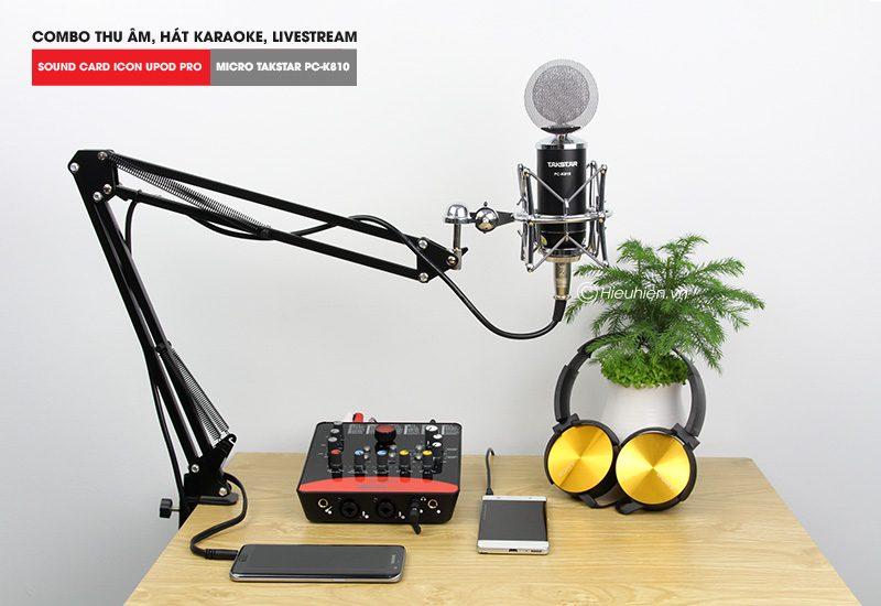 combo micro takstar pc-k810 + icon upod pro sound card - thu âm hát live stream, karaoke chuyên nghiệp - hình 03