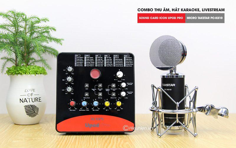 combo micro takstar pc-k810 + icon upod pro sound card - thu âm hát live stream, karaoke chuyên nghiệp - hình 01