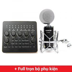 Combo Micro thu âm Takstar PC-K810 + Sound Card V10 cao cấp