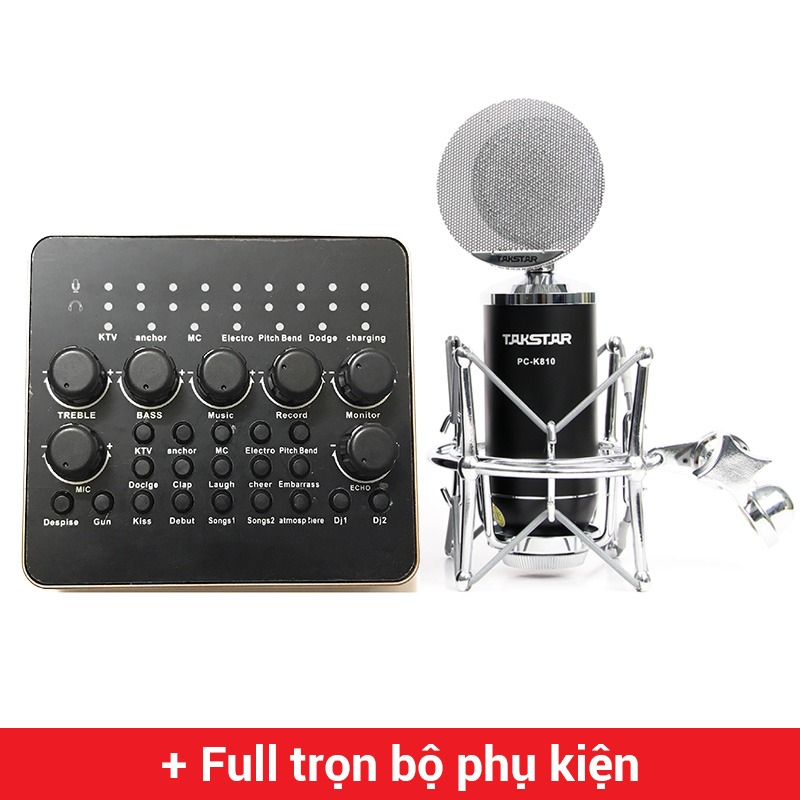 combo micro thu âm takstar pc-k810 + sound card v10 hát live stream, karaoke chuyên nghiệp