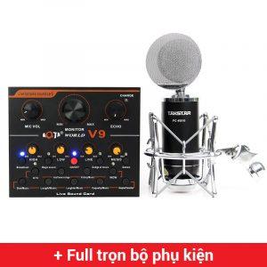 Combo Micro Takstar PC-K810 + Sound Card V9 - Thu âm hát live stream, karaoke chuyên nghiệp