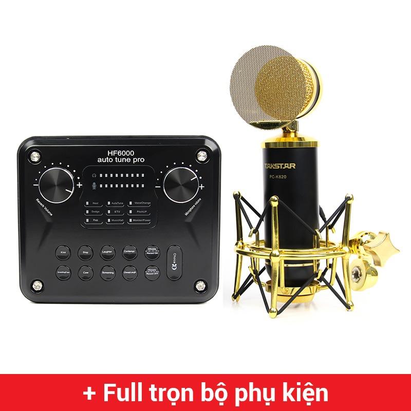 Combo Micro thu âm Takstar PC-K820 + Sound Card HF6000 Pro cao cấp
