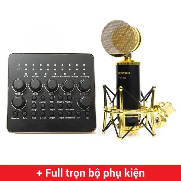 Combo Micro thu âm Takstar PC-K820 + Sound Card V10 cao cấp
