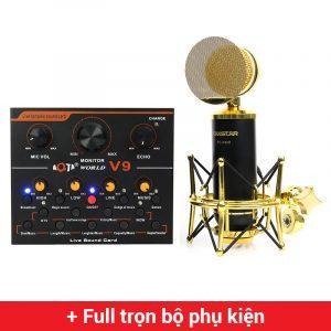 Combo Micro Takstar PC-K820 + Sound Card V9 - Thu âm hát live stream, karaoke chuyên nghiệp