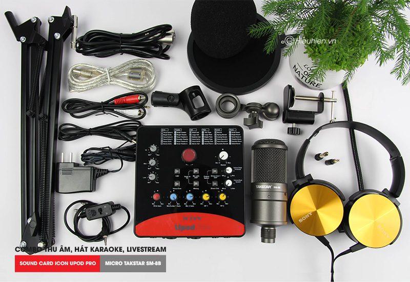 combo micro thu âm takstar sm-8b + sound card icon upod pro cao cấp - trọn bộ phụ kiện