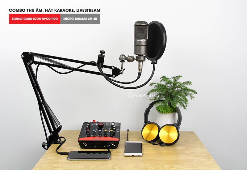 combo micro thu âm takstar sm-8b + sound card icon upod pro cao cấp - tặng tai nghe
