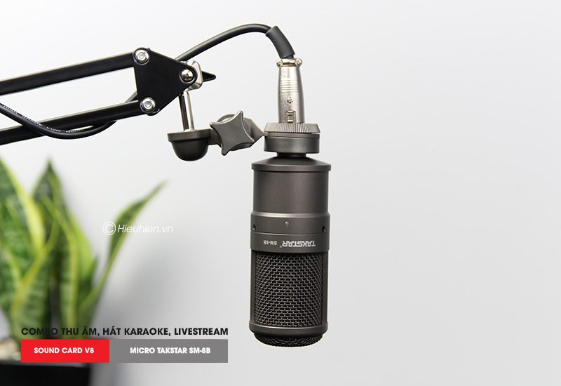 Combo Micro thu âm Takstar SM-8B + Sound Card V8 giá rẻ, chính hãng - micro