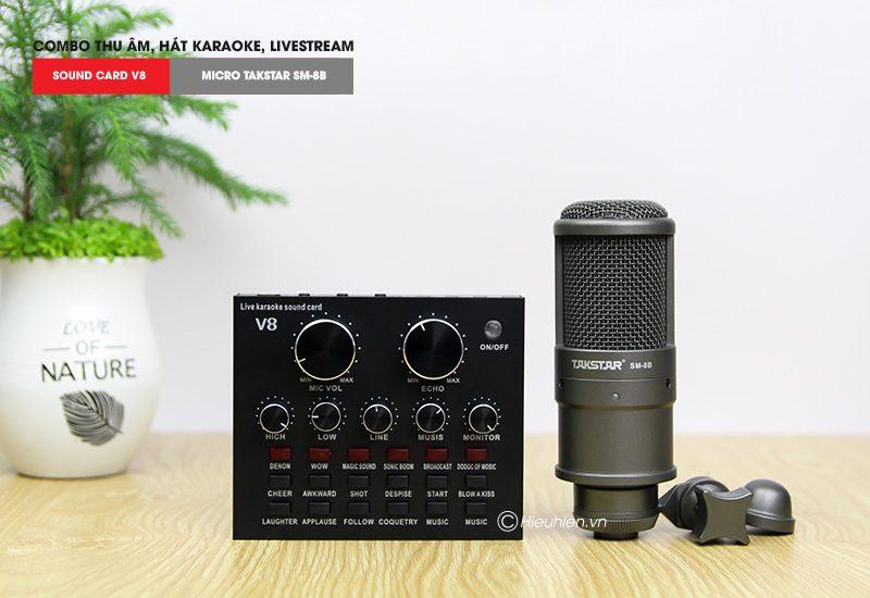 Combo Micro thu âm Takstar SM-8B + Sound Card V8 giá rẻ, chính hãng - soundcard