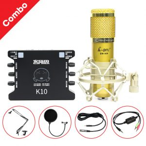 Combo Micro AMI BM 900 + Sound Card K10 XOX - Thu âm hát live stream, karaoke giá rẻ