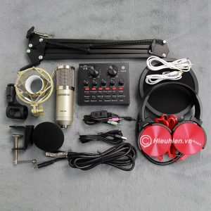 Trọn bộ Combo Micro thu âm BM 900 Woaichang + Sound Card V8 giá rẻ 01