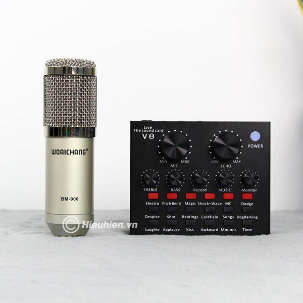 Trọn bộ Combo Micro thu âm BM 900 Woaichang + Sound Card V8 giá rẻ 03