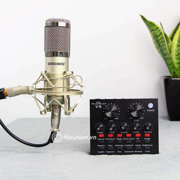 Trọn bộ Combo Micro thu âm BM 900 Woaichang + Sound Card V8 giá rẻ 05