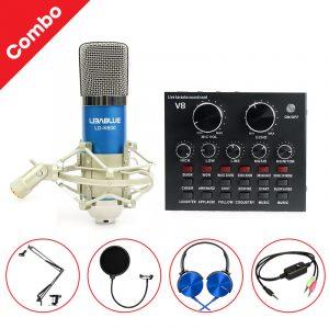 Combo Micro Libablue LD-K600 + Sound Card V8 - Thu âm hát live stream, karaoke giá rẻ 0