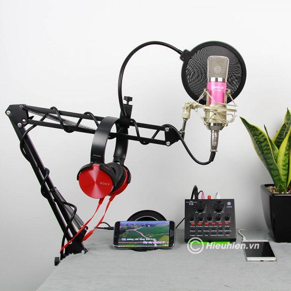Combo Micro Libablue LD-K600 + Sound Card V8 - Thu âm hát live stream, karaoke giá rẻ 02