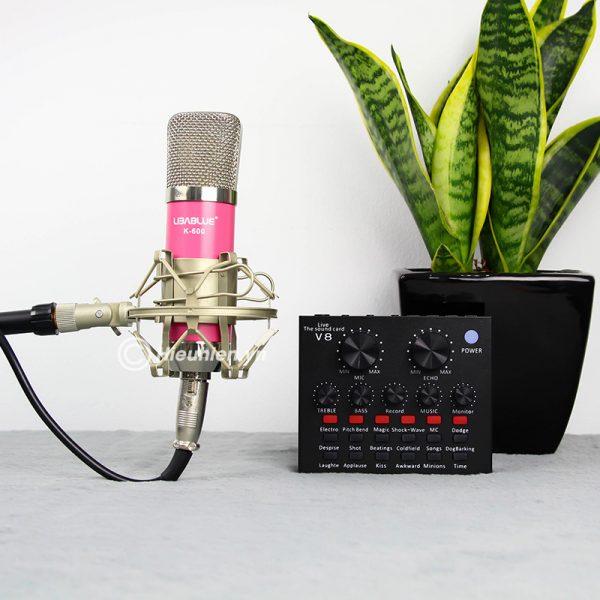 Combo Micro Libablue LD-K600 + Sound Card V8 - Thu âm hát live stream, karaoke giá rẻ 03