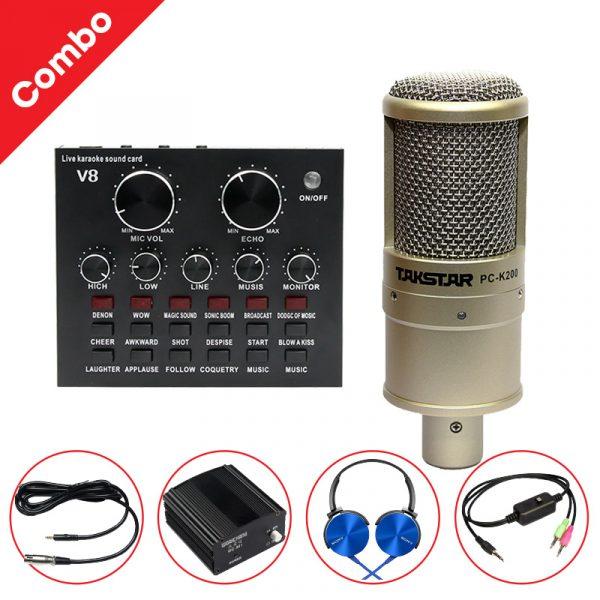 Combo Micro Takstar PC-K200 + Sound Card V8 - Thu âm hát live stream, karaoke giá rẻ 0