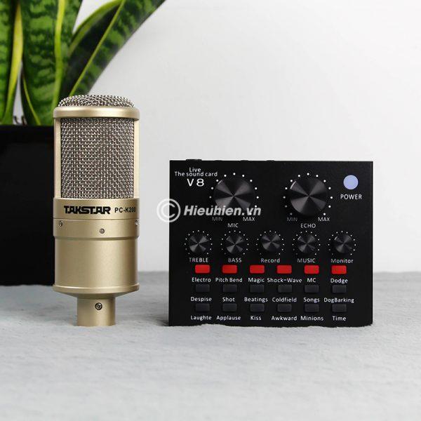 Combo Micro Takstar PC-K200 + Sound Card V8 - Thu âm hát live stream, karaoke giá rẻ 04