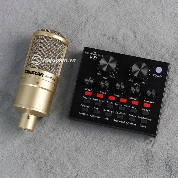 Combo Micro Takstar PC-K200 + Sound Card V8 - Thu âm hát live stream, karaoke giá rẻ 05