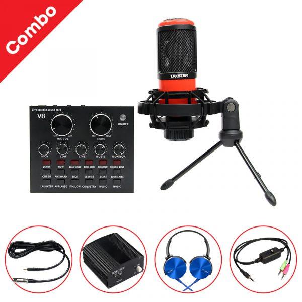 Combo Micro Takstar PC-K320 + Sound Card V8 - Thu âm hát live stream, karaoke chuyên nghiệp 0