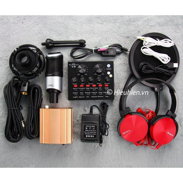 Combo Micro Takstar PC-K320 + Sound Card V8 - Thu âm hát live stream, karaoke chuyên nghiệp 01
