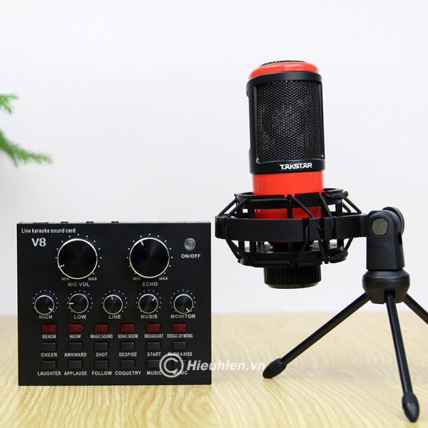 Combo Micro Takstar PC-K320 + Sound Card V8 - Thu âm hát live stream, karaoke chuyên nghiệp 03