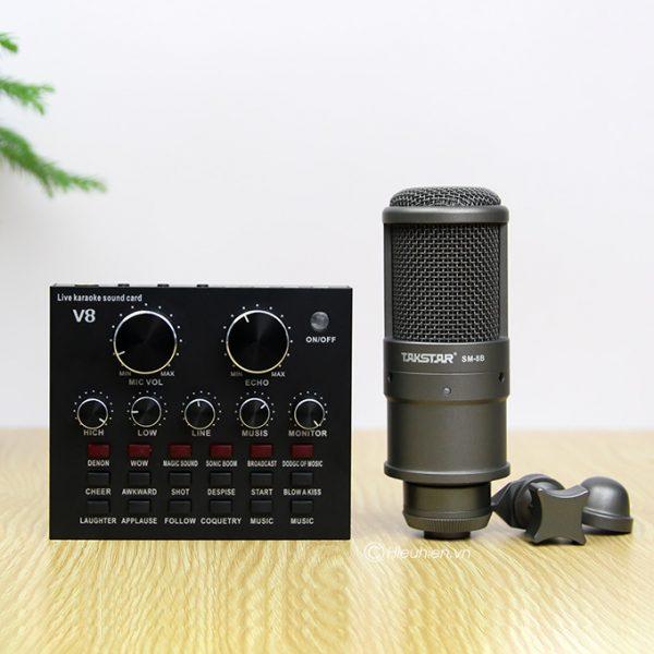 Combo Micro thu âm Takstar SM-8B + Sound Card V8 giá rẻ, chính hãng 0
