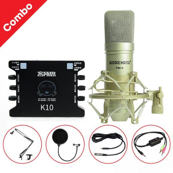 Combo Micro Woaichang PM10 + Sound Card K10 XOX - Thu âm hát live stream, karaoke giá rẻ