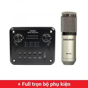 Combo Micro Woaichang BM900 + HF6000 Pro Soundcard - Thu âm hát live stream, karaoke giá rẻ