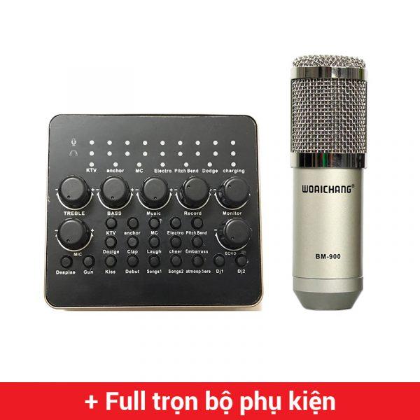 Combo Micro Woaichang BM900 + Soundcard V10 - Thu âm hát live stream, karaoke giá rẻ