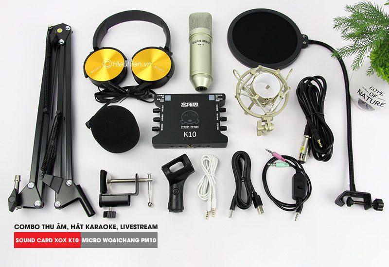 Combo Micro Woaichang PM10 + Sound Card K10 XOX - Thu âm hát live stream, karaoke giá rẻ - hình 02